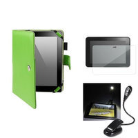 Insten INSTEN 5in1 Green Leather Case+3x LCD Protector+eBook Light LED For Kindle Fire HD 8.9