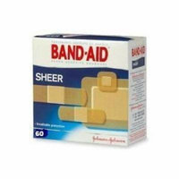 Johnson & Johnson Band-Aid Sheer Adhesive Bandages Assorted 60-Count (Pack of 6)