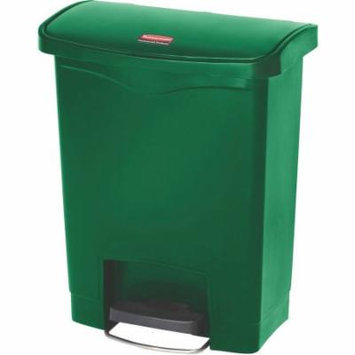 Rubbermaid Commercial Front Step Style Slim Jim Resin 8 gal. Step-On Container, Green