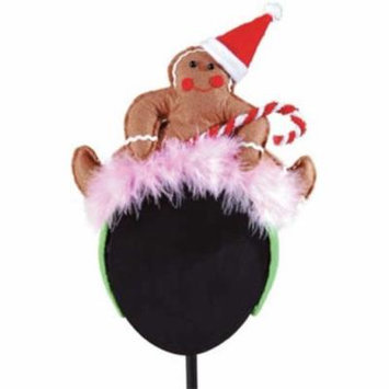 Christmas Gingerbread Man with Santa Hat Feathered Fascinator Headband Hair Accessory