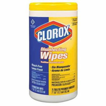 CLOROX 15948 Disinfecting Wipes, White, Lemon, PK 6