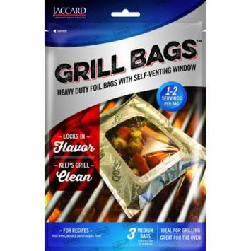 Jaccard Qbag 3pc Heavy Duty Foil Grill Oven Medium Bags With Self-Venting Window