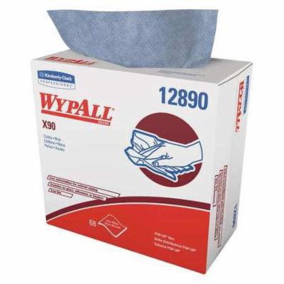 WYPALL 12890 Wipers,Pop Up Box,Blue,68,Hydroknit,PK5 G0378141