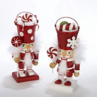 Holly Wood Candy Bucket Head Nutcracker Set Of 2