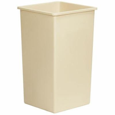 TOUGH GUY 5WYZ1 Open-Top Trash Can, Square, 25 gal., Beige