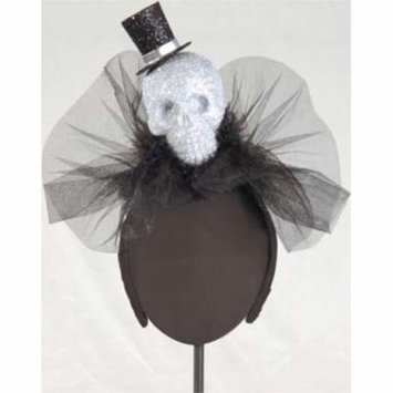 Halloween Top Hat Skull LED Light-up Fascinator Headband Hair Accessory
