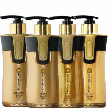 Keratin Cure 0% Formaldehyde Bio-Brazilian Hair Treatment Gold & Honey 10.14 oz 4 piece Kit 300 ML