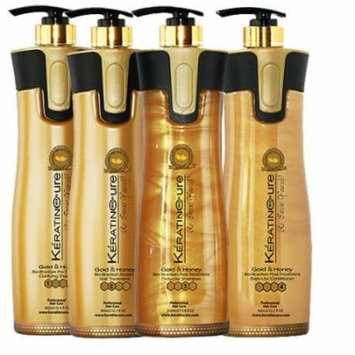 Keratin Cure 0% Formaldehyde Bio-Brazilian Hair Treatment Gold & Honey 32 oz 4 piece Kit 960 ML