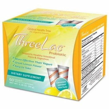 Global Health Trax ThreeLac Probiotic Lemon -- 120 Packets 2 boxes. Great lemon-flavored dietary supplement