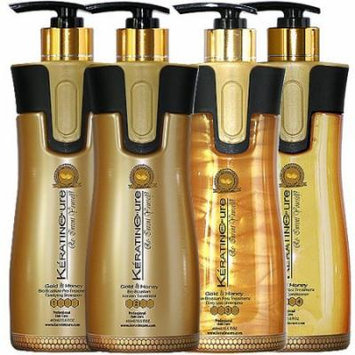 Keratin Cure 0% Formaldehyde Bio-Brazilian Hair Treatment Gold & Honey 15 oz 4 piece Kit 460 ML