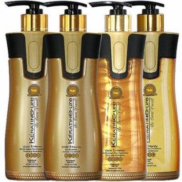 Keratin Cure 0% Formaldehyde Bio-Brazilian Hair Treatment Gold & Honey 15 oz 4 piece Kit 460 ML