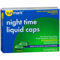 Sunmark Night Time Cold & Flu Relief Multi-Symptom Liquid Caps - 16 Softgels