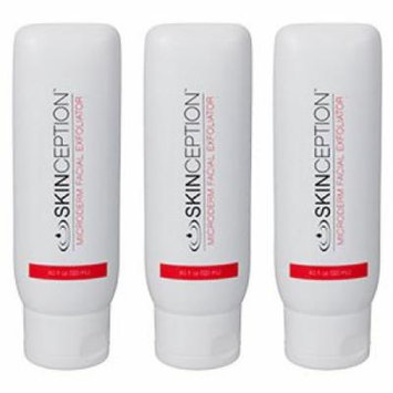 Microderm Facial Exfoliator 3 Bottles Anti-Aging Exfoliating Skin Cleanser Cream by Skinception