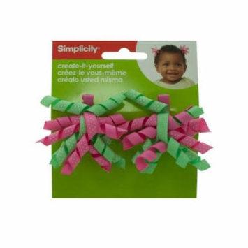 Bulk Buys WM470-18 Simplicity Mini Green-Pink Korker Hair Clips, 2 Piece