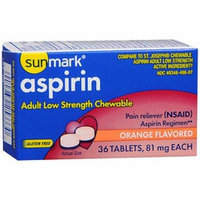 Sunmark Aspirin Adult Low Strength 81 mg Chewable Tablets Orange - 36 ct