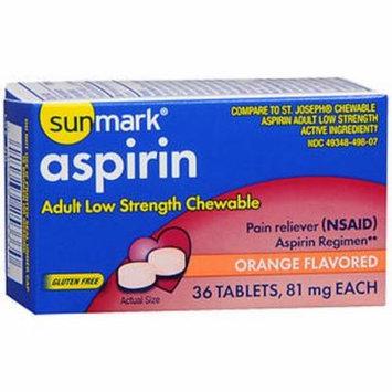 Sunmark Aspirin Adult Low Strength 81 mg Chewable Tablets Orange - 36 ct