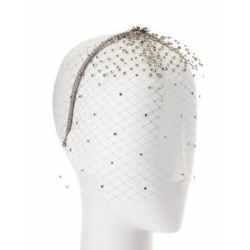 Gigi Burris Bianca Netted Embellished Veil, Silver