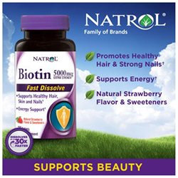Natrol Fast Dissolve Biotin 5000 Micrograms, 250 Fast Dissolve Tablets