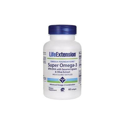 Life Extension Super Omega-3 EPA/DHA Withsesame Ligans and Olive Extract Softgels, 60 Count