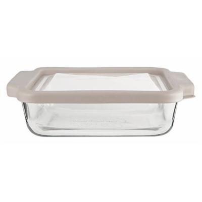 Anchor Hocking 8-InchSquare Glass Baking Dish with Pepper Grey TrueFit Lid