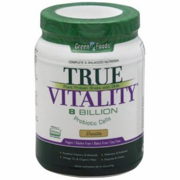 Green Foods True Vitality Plant Protein Shake, with DHA, Vanilla, 25.2 OZ