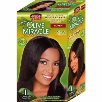 African Pride Olive Miracle Deep Conditioning No-Lye Relaxer - Super Kit (Pack of 6)
