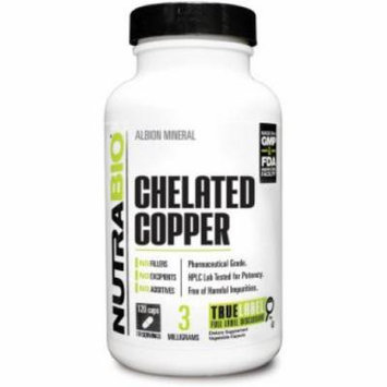 NutraBio Chelated Copper Albion Mineral 3mg - 120 Vegetarain Capsules HPLC Lab Tested for Potency Pharma Grade