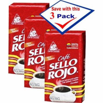 Cafe Sello Rojo 100% Colombian Coffee 8.8 oz Pack of 3