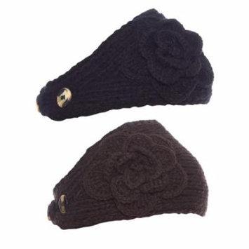 Greatlookz Polar Primrose Knit Winter Headband with Sequin Flower