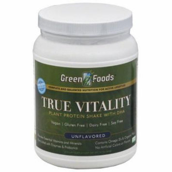 Green Foods True Vitality Plant Protein Shake with DHA, Unflavored, 22.7 OZ