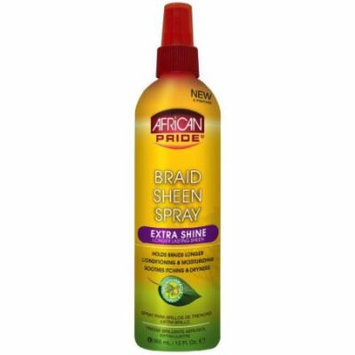African Pride Braid Sheen Spray Extra Shine 12 oz. (Pack of 2)