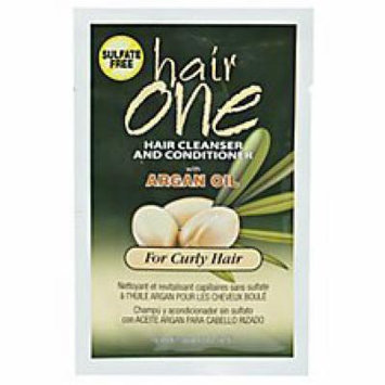 Hair One Argan Oil Hair Cleanser Conditioner For Curly Hair .608 oz. Packettes (Pack of 4)