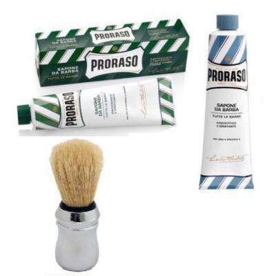 Proraso Shaving Cream, Menthol & Eucoplytus 150 ml + Proraso Shaving Cream, Aloe & Vitamin E 150 ml + Proraso Professonal Shaving Brush
