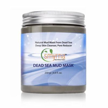 Smyrna Dead Sea Mud Mask For Face and Body 8.8 oz / 250g - 100% NATURAL and ORGANIC Deep Skin Cleanser, Pore Reducer. Premium SPA Quality.