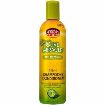African Pride Olive Miracle 2-in-1 Shampoo 12 oz. (Pack of 2)