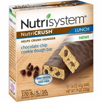 Nutrisystem NutriCRUSH Chocolate Chip Cookie Dough Meal Replacement Bars, 1.6 oz, 5 count, (Pack of 6)