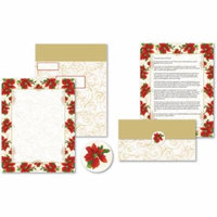 Great Paper Poinsettia Swirl Self-Mailer, 50 Sheets/50 Seals