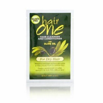 Hair One Cleanser and Conditioner with Olive Oil for Dry Hair .608 oz. Packettes (Pack of 4)