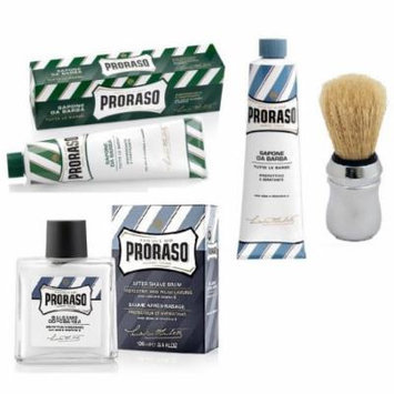 Proraso Shaving Cream, Menthol & Eucoplytus 150 ml + Proraso Shaving Cream, Aloe & Vitamin E 150 ml + Proraso Professonal Shaving Brush + Proraso After Shave Balm Protective, 3.4 Fluid Ounce