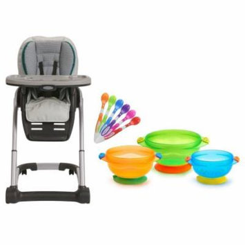 Graco Blossom 4-in-1 Seating System with Infant Spoons & Feeding Bowl, Sapphire