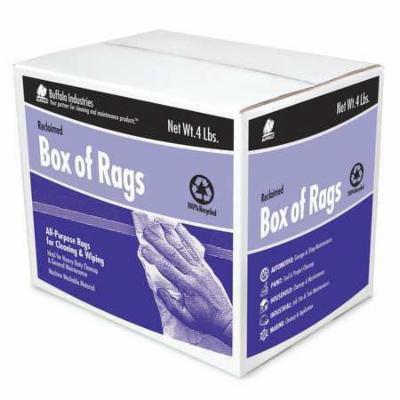 Buffalo 10180 Cloth Rag, Rcycld Cottn, 4 Lb. Box