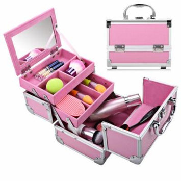 Professional Mini Cosmetic Makeup Train Case With Mirror,3-Tier Makeup Organizer