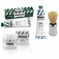 Proraso Shaving Cream, Menthol & Eucoplytus 150 ml + Proraso Shaving Cream, Aloe & Vitamin E 150 ml + Proraso Professonal Shaving Brush + Proraso Pre Shaving Cream w/ Green Tea & Oatmeal 100 ml
