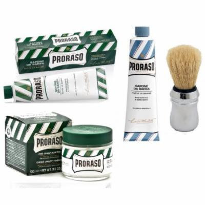 Proraso Shaving Cream, Menthol & Eucoplytus 150 ml + Proraso Shaving Cream, Aloe & Vitamin E 150 ml + Proraso Professonal Shaving Brush + Proraso Pre Shaving Cream w/ Menthol & Eucolyptus 100 ml