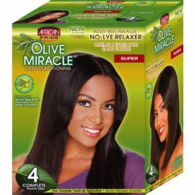 African Pride Olive Miracle Deep Conditioning No-Lye Relaxer - Super Kit 4-Count