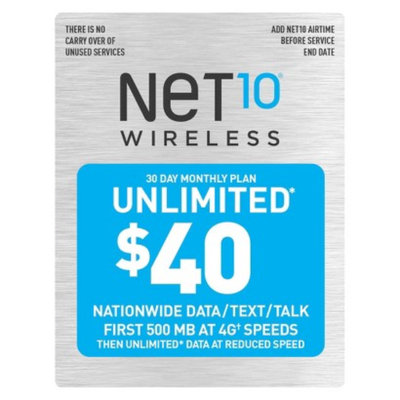 NET10 Net10 $40 30 Day Monthly Unlimited Plan Pre-Paid Cell Phone Card