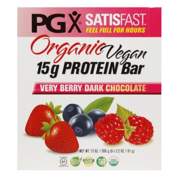 PGX SATISFAST Organic Vegan 15g Protein Bars, Very Berry Dark Chocolate, 6 ea