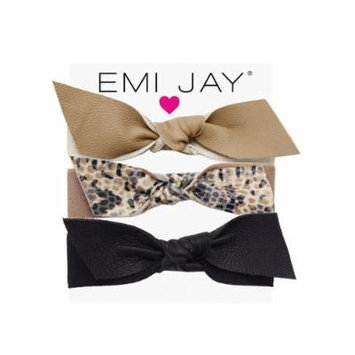 Emi Jay Neutral Leather Bow Hair Ties, 3-Pack