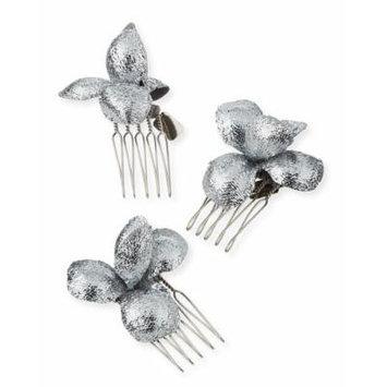 Gigi Burris Alchemia Floral Hair Combs, Silver, Boxed Set of Three