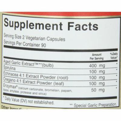 Maxi Health Biotic 450 - Aged Garlic Extract - Immune Booster - 180 Extra Strength Capsules - Kosher
